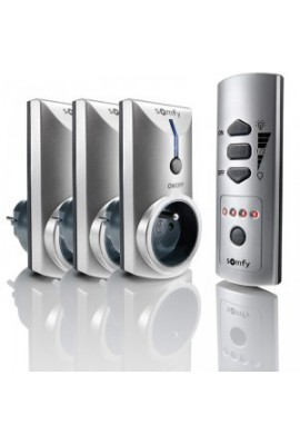 Somfy Lot de 1 Télécommande 5 canaux pour prises et douilles et 3 prises (so 2401095)