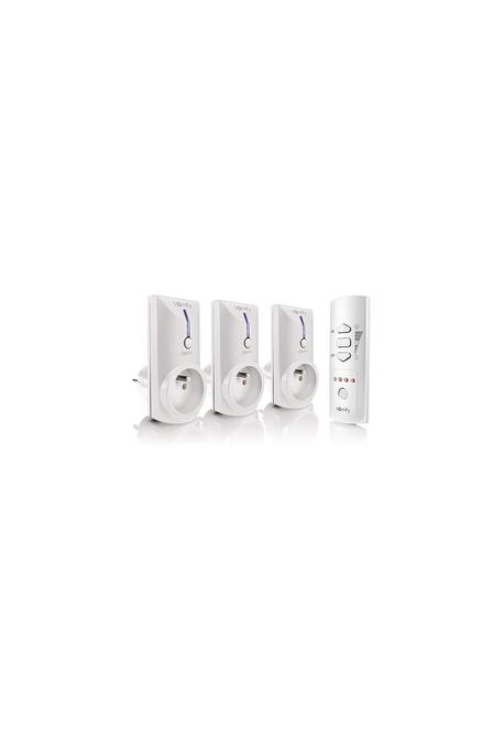 Somfy pack de trois prises télécommandées Blanches avec télécommande 5 canaux (so 2401365)