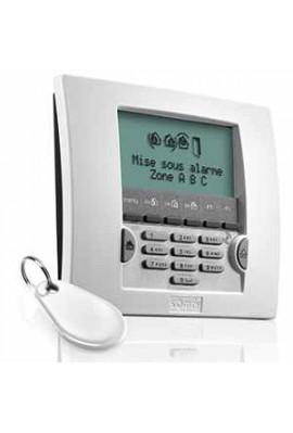 Somfy alarme : clavier LCD blanc avec badge (so 2401013) met en marche totalement ou partiellement le système d'alarme et l'arrê