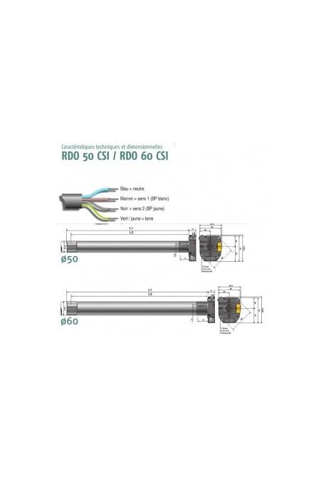 Somfy rdo 60 csi 55 17 so 1161175 moteur commande de secours int gr pour porte de garage - Moteur porte de garage enroulable ...